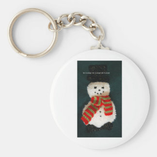 let it snow basic round button key ring