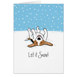 Let it Snow Beagle Holiday - A Snowy Christmas Card