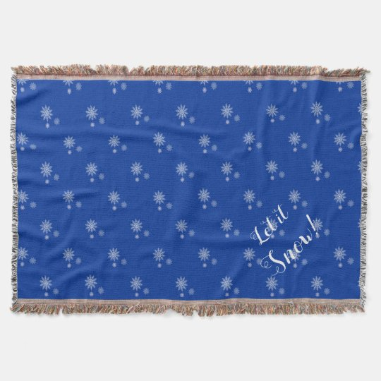 Let it Snow! Blue and White Snowflake Canvas Art Throw Blanket