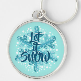 Let It Snow Blue Snowflake Gift Keychain