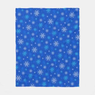 Let It Snow, Blue Snowflake Pattern Fleece Blanket