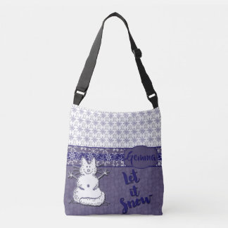 Let It Snow Cat Snowman Crossbody Bag
