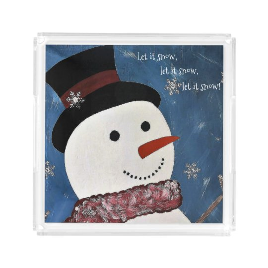 Let It Snow Christmas Acrylic Tray