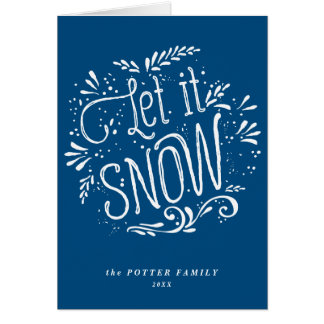 Let It Snow | Christmas Blue Holiday Card