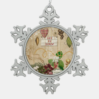Let It Snow Christmas Ornament red green gold