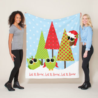 Let It Snow, Christmas Owls In Snow Fleece Blanket