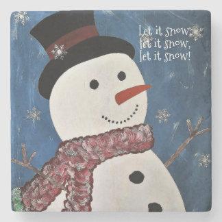 Let It Snow Christmas Stone Coaster