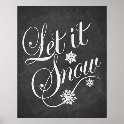 Let It Snow Christmas vintage chalkboard print