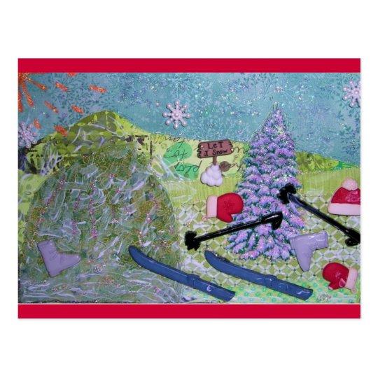 Let it Snow Collage Postcard