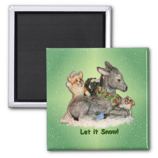 """let It Snow!"" Corgi & Donkey magnet"