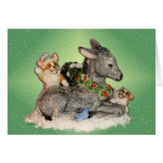 Let it Snow! Corgis & Donkey Christmas Card