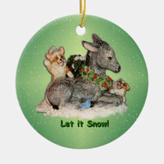 """Let it Snow!"" Corgis & Donkey Christmas Ornament"