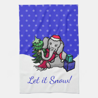 Let it Snow Cute Santa Christmas Elephant Tea Towel