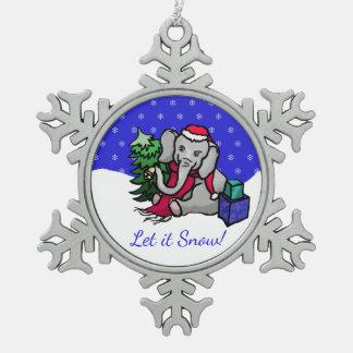 Let It Snow Cute Santa Elephant Christmas Snowflake Pewter Christmas Ornament