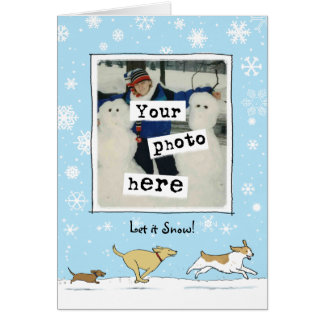 Let it Snow! Dogs Holiday Photo Template Card