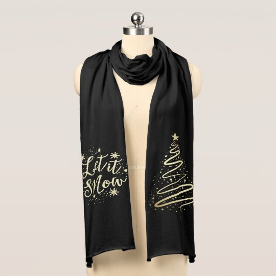 Let It Snow Gold Modern Christmas Tree Scarf