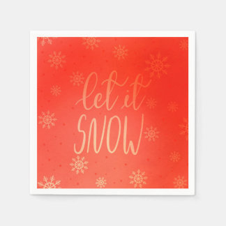 Let It Snow Handwritten Script Bright Red Disposable Serviette