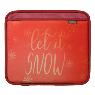 Let It Snow Handwritten Script Bright Red iPad Sleeve