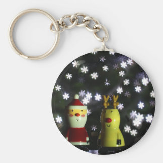 Let it Snow! Happy Holidays with Santa & reindeer Key Ring
