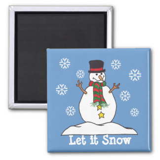 """Let it Snow"" - Happy Snowman Magnet"