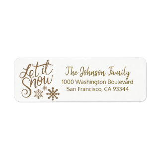 LET IT SNOW Holiday Christmas Gold Return Address