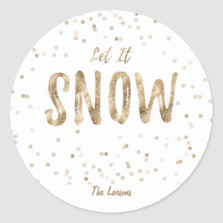 Let it Snow Holiday Gold Round Sticker