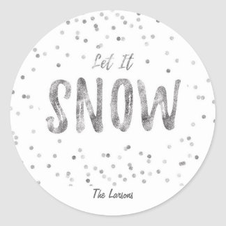 Let it Snow Holiday Round Sticker