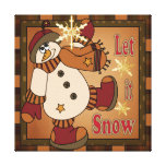 Let it Snow Holiday Snowman Canvas