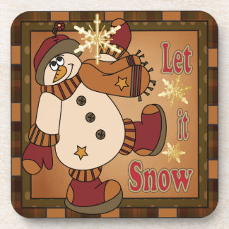 Let it Snow Holiday Snowman | Christmas Coaster