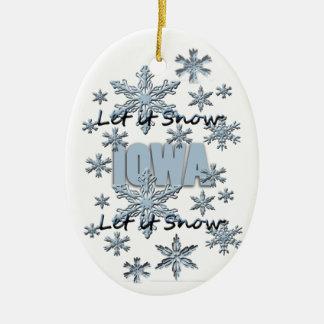 Let it Snow Iowa Christmas Ornament
