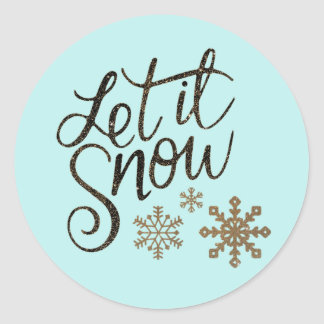 Let It Snow Light Aqua Blue Card & Package Sticker