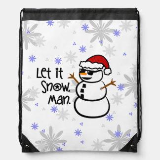 Let it Snow, Man Drawstring Backpack