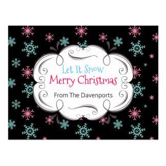 Let it Snow Merry Christmas Snowflakes Custom Postcard