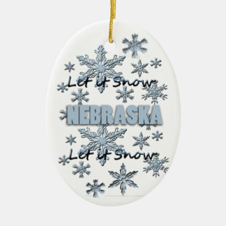 Let it Snow Nebraska  Christmas Ornament