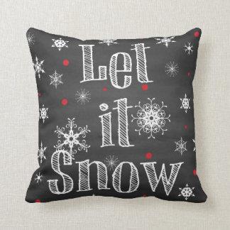 Let it Snow on Faux Chalkboard Pillow