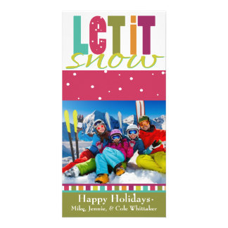 Let it snow Photo Christmas Card Personalised Photo Card