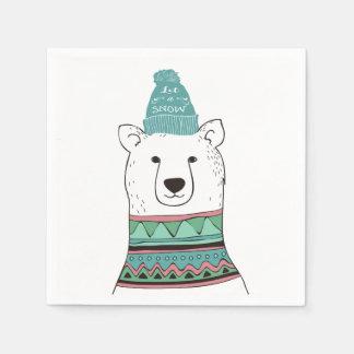 Let It Snow Polar Bear Paper Napkins