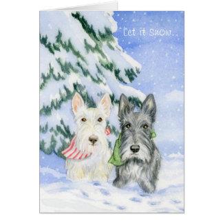 Let It Snow Scotties Greeting Card