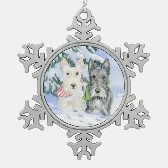 Let It Snow Scotties Snowflake Pewter Christmas Ornament