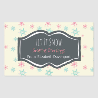 Let it Snow Seasons Greetings Snowflake Custom Rectangular Sticker