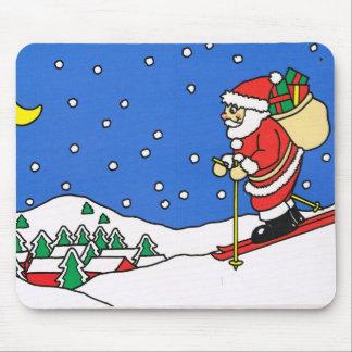 Let it snow! Skiing Santa Mouse Pad