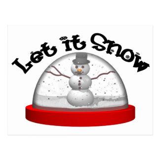 Let It Snow, Snow Globe Postcard