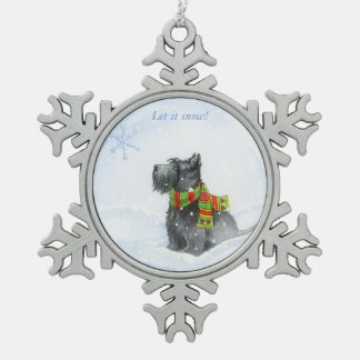 Let It Snow! Snowflake Pewter Christmas Ornament