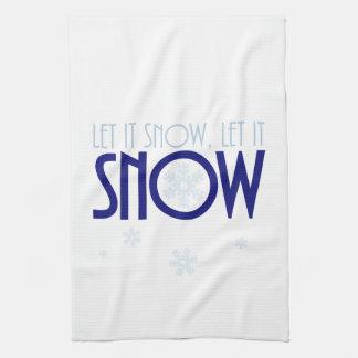 Let It Snow Snowflake Winter Tea Towel