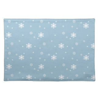 Let it Snow, Snowflakes Pattern on Blue, Winter Placemat