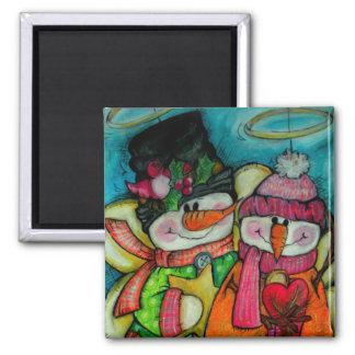 Let It Snow - Snowman Angels Square Magnet