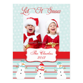 LET IT SNOW! SNOWMAN CHRISTMAS HOLIDAY POSTCARD