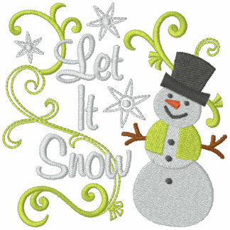 Let It Snow Snowman Embroidered Fleece Jogger Jacket