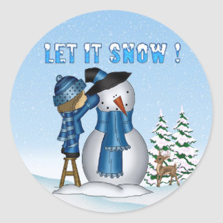 Let It Snow Snowman Round Stickers