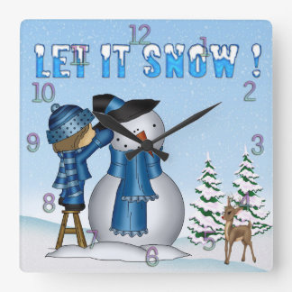 Let It Snow Snowman Square Wall Clock